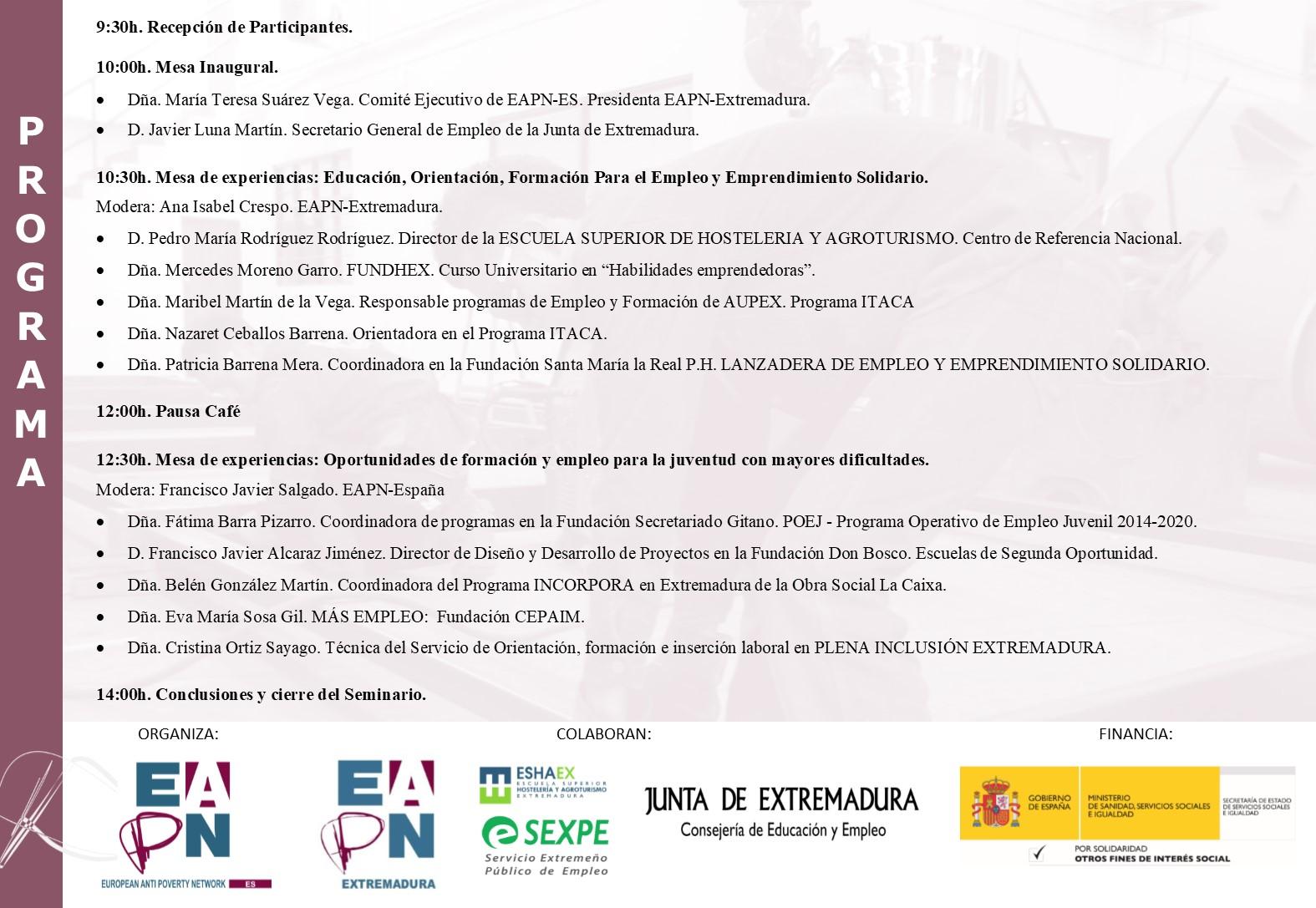 Seminario sobre Empleo Juvenil y la Formación para el Empleo en España @ Escuela Superior de Hostelería y Agroturismo | Mérida | Extremadura | España